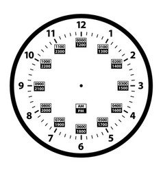 24 hour military clock template vector