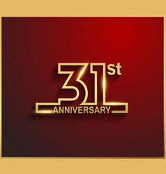 31 anniversary line style golden color vector