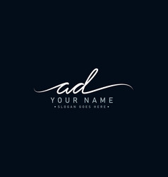 Ad initial letter logo - handwritten signature vector
