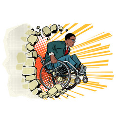 african businessman in a wheelchair disabilities vector image