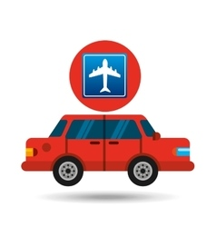 airport road sign sedan red vector image