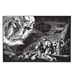 Annunciation - angels tell shepherds in vector