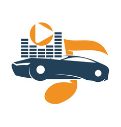 Audio car system volume note music player logo vector
