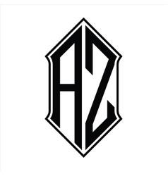 Az logo monogram with shieldshape and outline vector