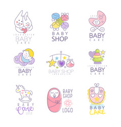 Baby shop set for logo design hand drawn vector