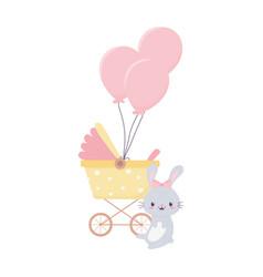 Bashower rabbit and pram balloons decoration vector