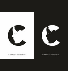 Black and white c initial letter with silhouette vector