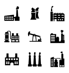 black factory icons set vector image
