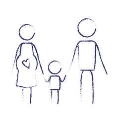 blurred blue contour of pictogram parents with vector image