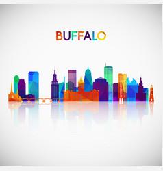 buffalo skyline silhouette in colorful geometric vector image