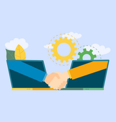 business investor transaction handshake with lapto vector image