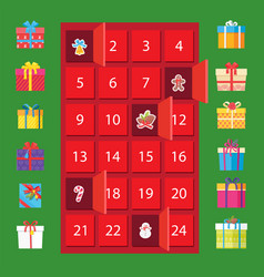 Calendar with winter holidays and present boxes vector