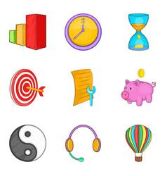 Call center support icon set cartoon style vector