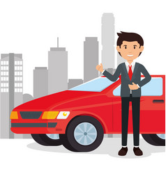 car salesman cartoon vector image