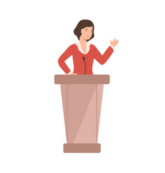 Cartoon female politician perform in front vector