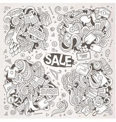 Cartoon set of sale doodles designs vector