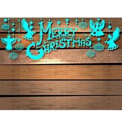 Christmas Card over wood vector image