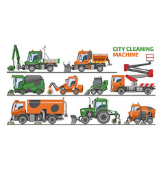 city cleaning machine vehicle truck sweeper vector image