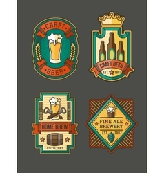 Collection of retro beer labels stickers vector