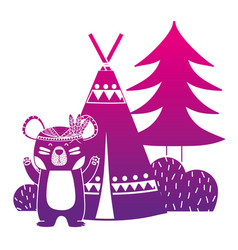 Color silhouette bear animal with camp next to vector