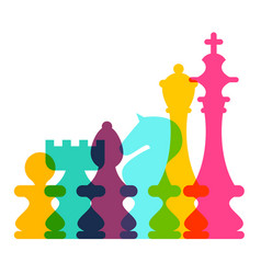 colorful transparent chess pieces on white vector image