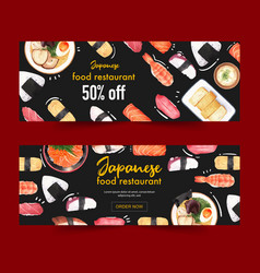 Creative banner with food watercolor design vector