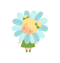 Cute blonde little girl wearing flower costume vector
