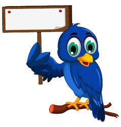 cute blue bird cartoon holding blank board vector image