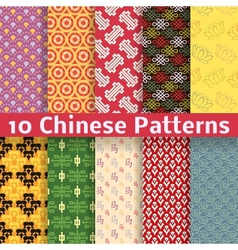 Different chinese seamless patterns tiling vector