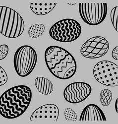 easter egg seamless pattern black gray holiday vector image