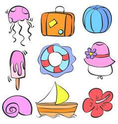 element summer holiday doodle style vector image