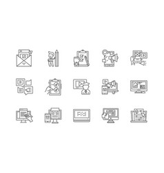email marketing plan line icons signs set vector image