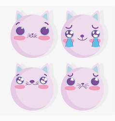 emojis kawaii cartoon cat comic faces set vector image