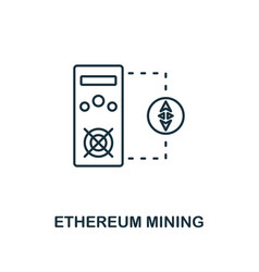 ethereum mining outline icon monochrome style vector image
