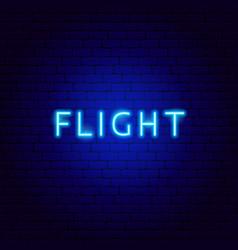 Flight neon text vector