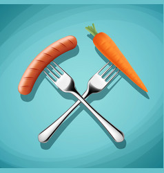 fork with sausage and carrots harmful vector image