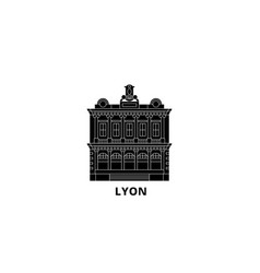 France lyon landmark flat travel skyline set vector
