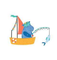 funny hippopotamus in boat flat vector image