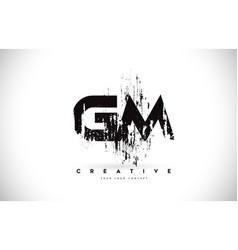 Gm g m grunge brush letter logo design in black vector