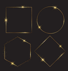 Gold sparkle frames collection vector