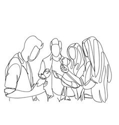 Group of sketch people using smart phones and vector