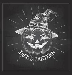 halloween chalk drawing pumpkin jack lantern vector image