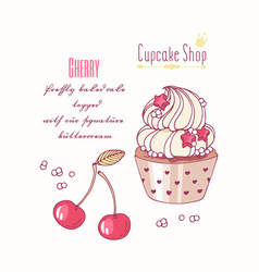 Hand drawn cupcake cherry flavor vector