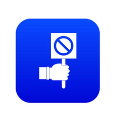 hand showing stop signboard icon digital blue vector image