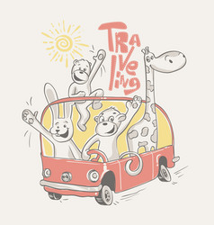 happy animals traveling on the bus vector image