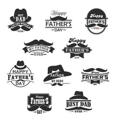 Happy father day mustaches and hat icons vector