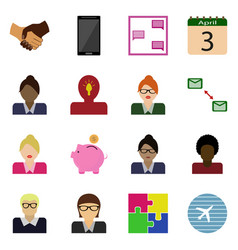 Icons set business button vector