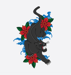 japanese panther tattoo vector image