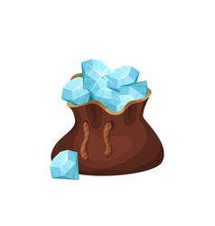 large brown bag full of precious stones blue vector image