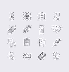 Line icons set in flat design Elements of medicine vector image
